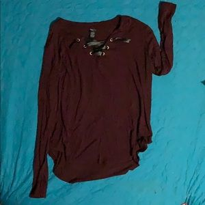 Rue 21 Maroon long sleeve light weight shirt